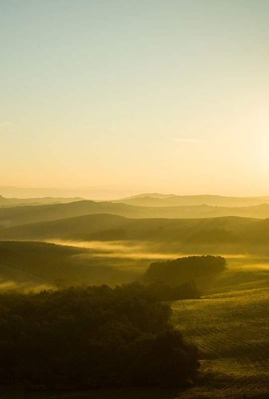 夕日の丘を撮影した綺麗な写真壁紙画像