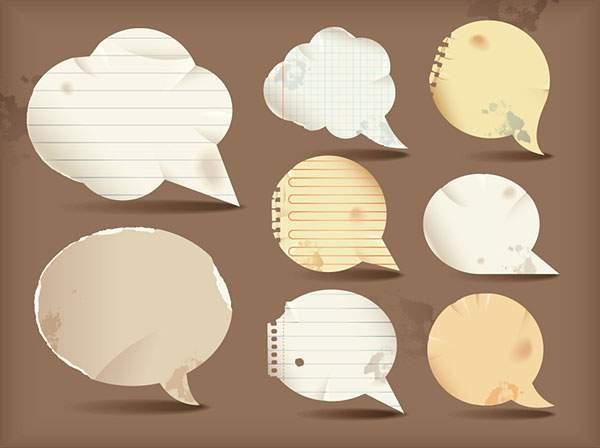 無料ベクター素材:コラージュ風デザインに最適!ノートや方眼紙の吹き出し