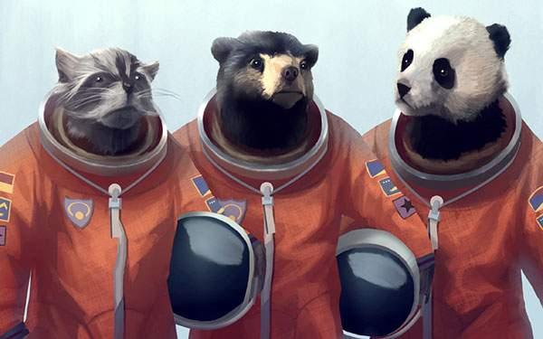クマとアライグマとパンダの宇宙飛行士のユニークなイラスト壁紙画像