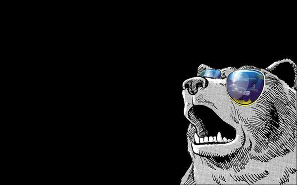 黒背景にサングラスをかけた熊を描いたおしゃれなイラスト壁紙