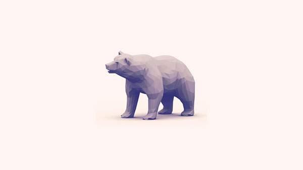 ポリゴン風の熊を単色で描いたオシャレなイラスト壁紙