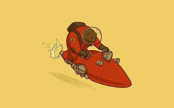 ロケットに乗った宇宙飛行士なクマのポップで可愛いイラスト