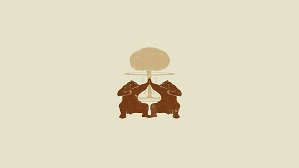 手を合わせる二匹の熊を描いたシンプルなイラスト壁紙画像