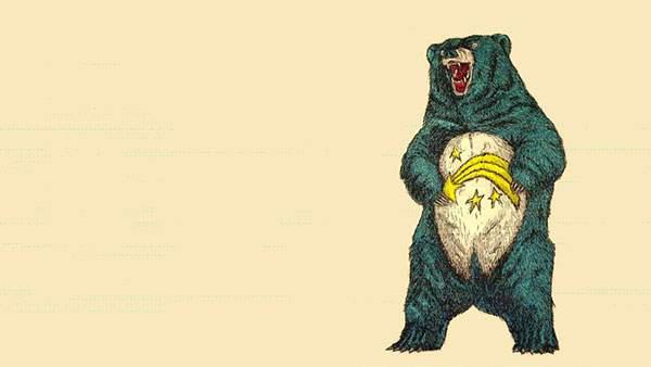 お腹に流れ星が描かれたクマを描いたおしゃれなイラスト壁紙画像