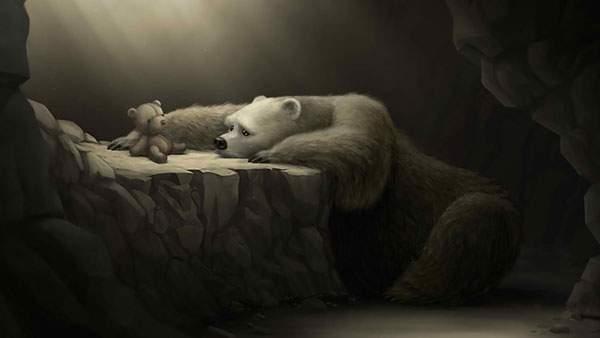 クマのぬいぐるみを切なそうに見つめるクマのイラスト壁紙画像