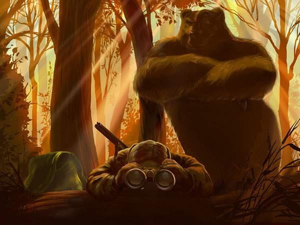 双眼鏡を覗くハンターの後ろで腕組をする熊のユニークないらうと壁紙