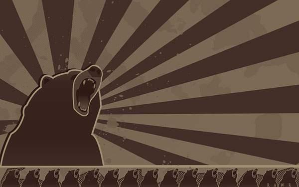 吠える熊を集中線でデザインしたポップで可愛いイラスト壁紙画像