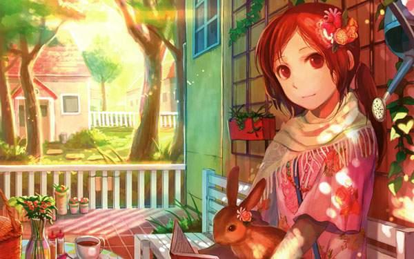 ウサギを膝に乗せた女の子を描いた可愛いイラスト壁紙画像