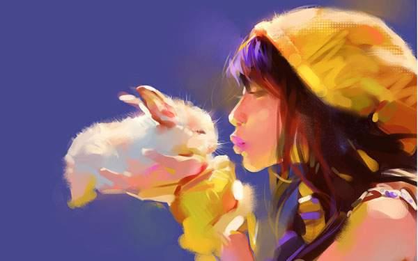 手の上に乗せたウサギに息を吹く女の子の綺麗なイラスト壁紙