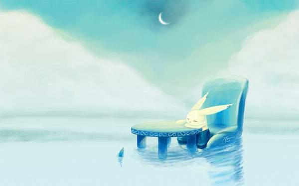 水辺に浮かんだテーブルと椅子とうさぎの幻想的なイラスト壁紙画像