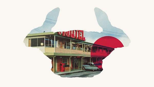 ウサギのシルエットで切り抜いたモーテルのイラストをデザインした壁紙