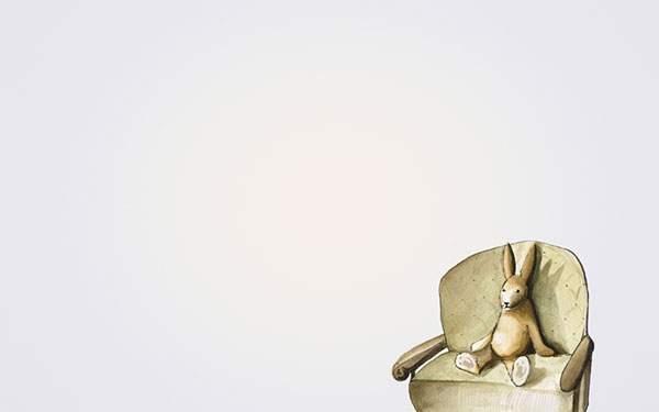 椅子の上に座らせたウサギのぬいぐるみのシンプルで可愛いイラスト壁紙