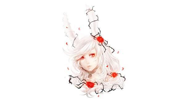擬人化したウサギの女の子の綺麗なイラスト壁紙画像