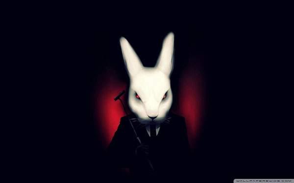 スーツを着たちょっと怖い雰囲気のウサギを描いたクールなイラスト壁紙