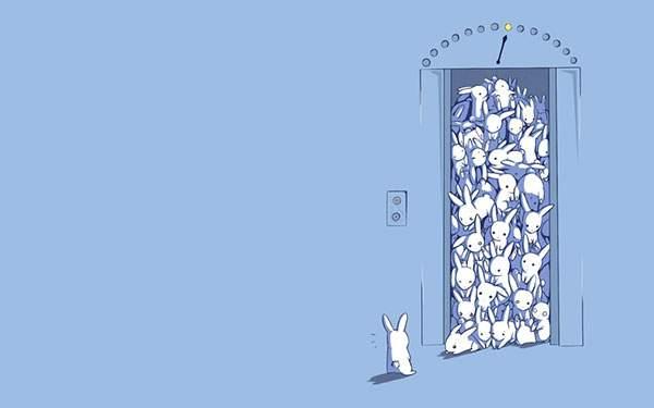 エレベーターでぎゅうぎゅう詰めになっているウサギの可愛いイラスト画像