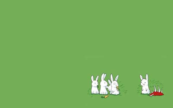 一匹だけ肉食で驚かれてるウサギのユニークなイラスト壁紙画像