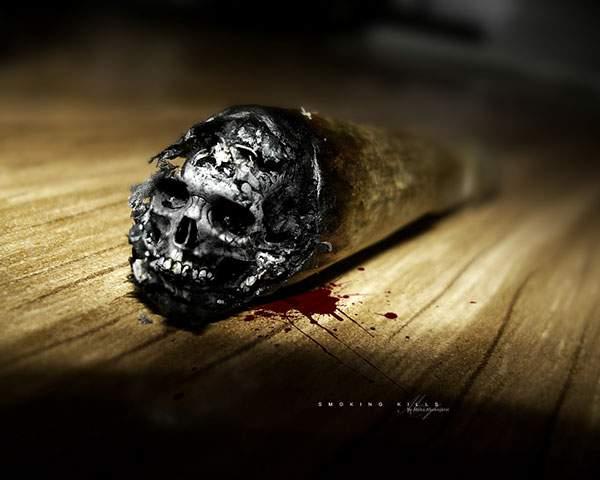 吸殻が骸骨になっているタバコのグラフィックデザイン画像