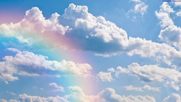清々しい青空と淡い色の虹を撮影した綺麗な写真壁紙画像