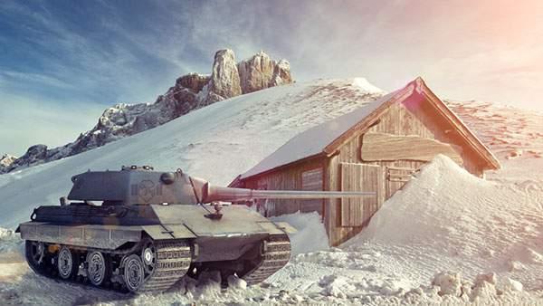 雪山を走る戦車を撮影した綺麗な写真壁紙画像