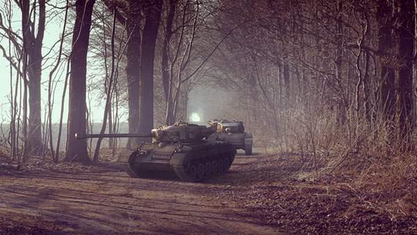 森の中の戦車を撮影した渋い雰囲気がかっこいい写真壁紙画像