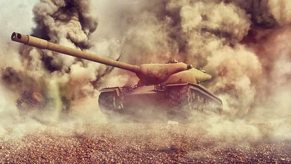 大きく立ち上る煙の中の戦車を撮影したかっこいい写真壁紙画像