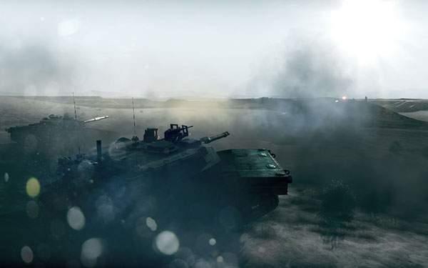 砂漠地帯の二台の戦車の写真壁紙画像