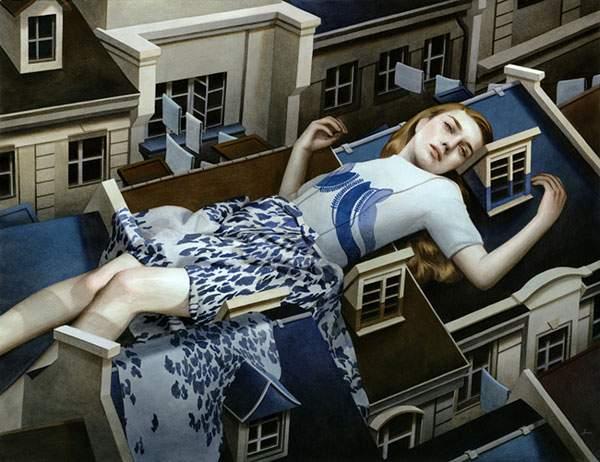 巨大な少女を描いたシュールな絵画作品シリーズ - 01