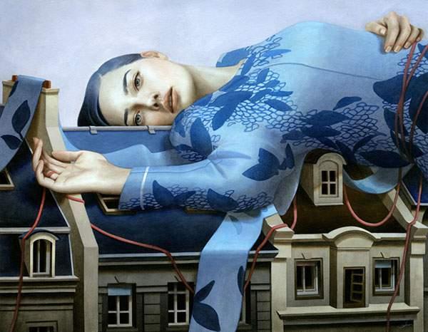 巨大な少女を描いたシュールな絵画作品シリーズ - 02