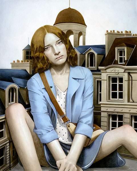 巨大な少女を描いたシュールな絵画作品シリーズ - 03