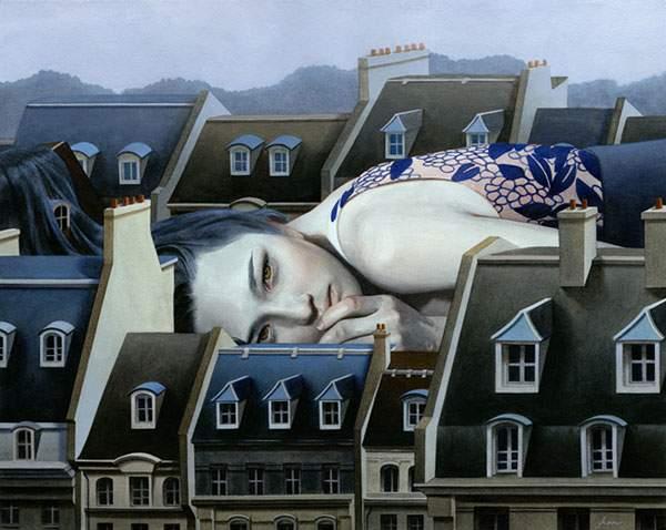 巨大な少女を描いたシュールな絵画作品シリーズ - 04