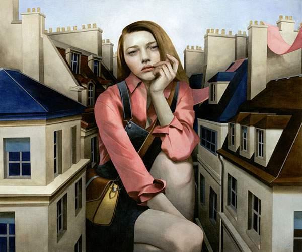 巨大な少女を描いたシュールな絵画作品シリーズ - 05