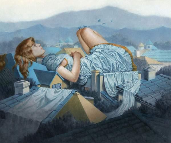 巨大な少女を描いたシュールな絵画作品シリーズ - 06