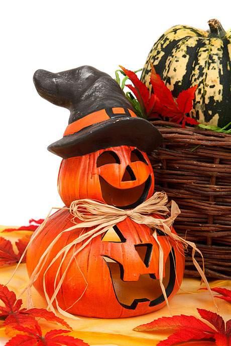 ハロウィンかぼちゃとバスケットとカボチャのフリー写真素材