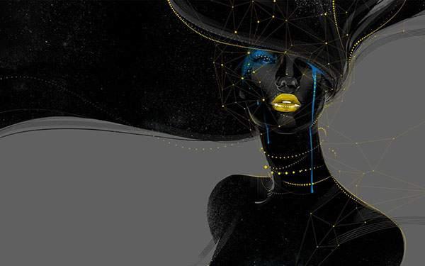黄色いラインでデザインした黒い女性のアートなイラスト壁紙