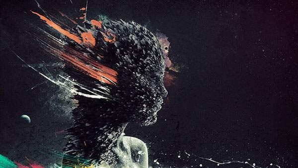 尖った破片を集めて作った人型のアートなイラスト壁紙画像