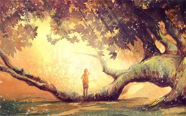 森の木漏れ日の中に浮かび上がる人物のシルエットを描いたイラスト壁紙