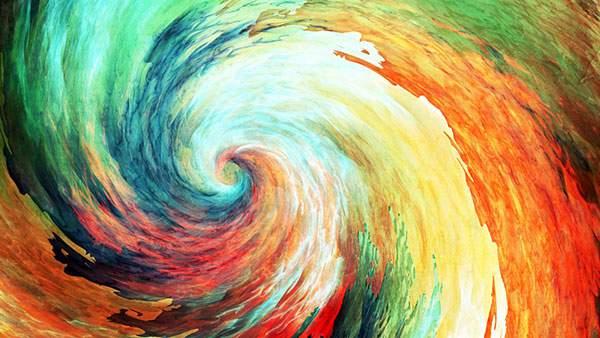 カラフルな渦巻きをデザインしたアートなイラスト壁紙画像