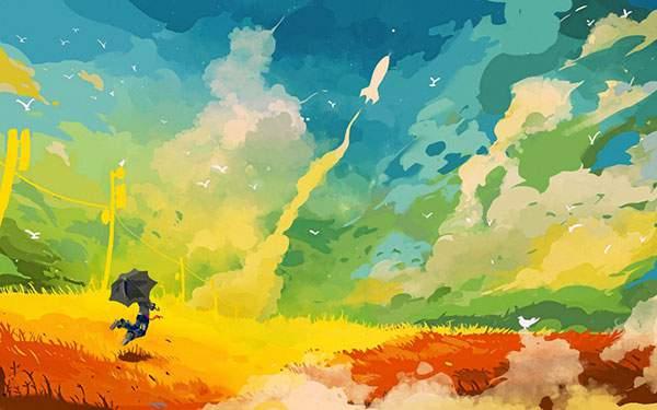 飛び立つロケットを見守る少年を描いたカラフルなイラスト壁紙画像