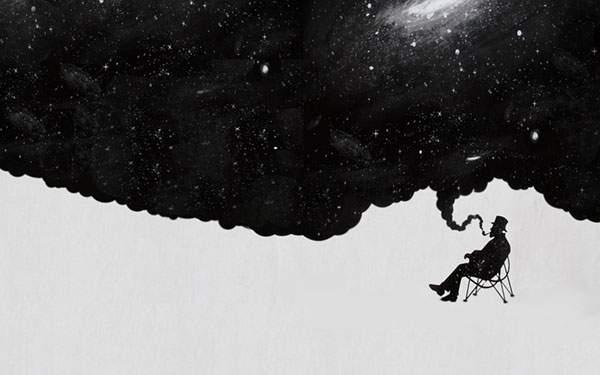 椅子に座った男性とそのパイプの煙から広がる宇宙のイラスト壁紙画像