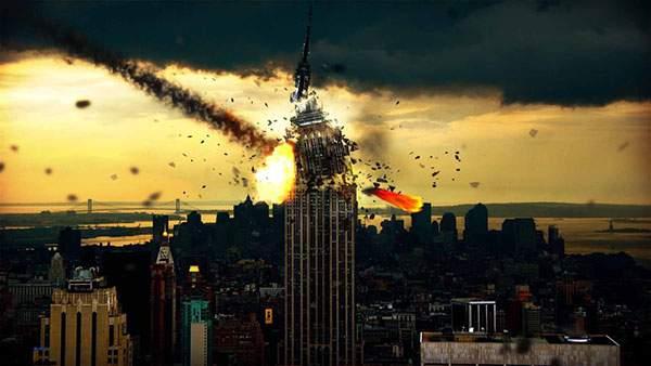 エンパイアステートビルを直撃する隕石を描いたイラスト壁紙画像