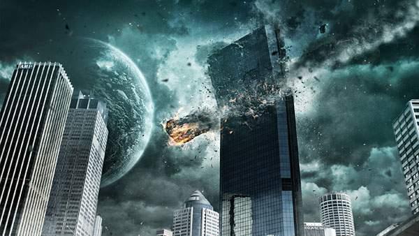 都市の高層ビルを直撃する隕石をリアルに描いたイラスト壁紙画像