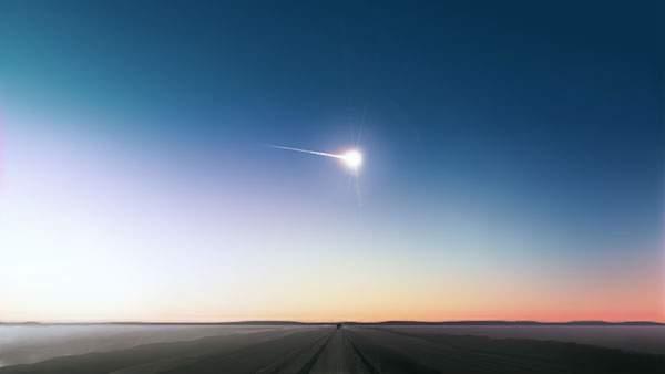 地平線と空を横切る隕石の美しいイラスト壁紙画像