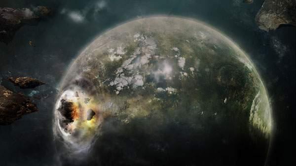 地球を襲う隕石を宇宙からみたイラスト壁紙画像