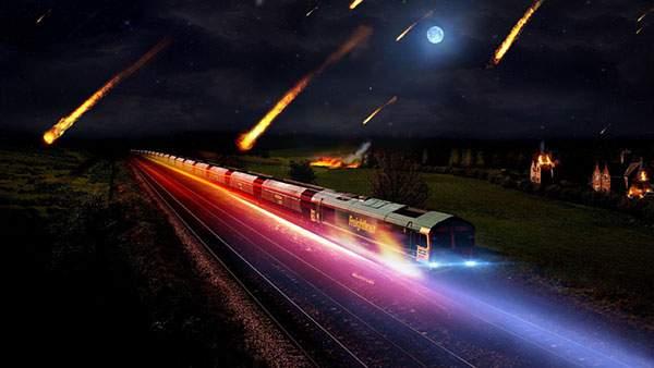 走行中の列車に降り注ぐ隕石の美しいイラスト壁紙画像