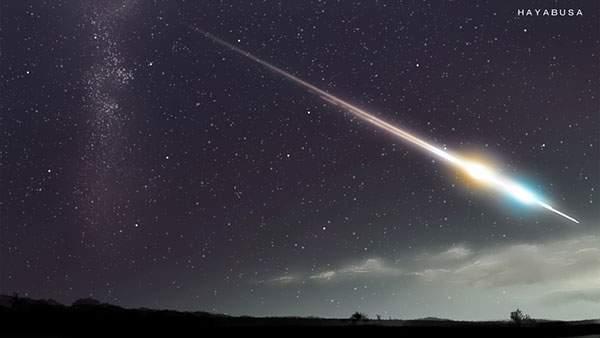 夜空を切り裂く隕石を描いた美しいイラスト壁紙画像