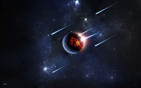 たくさんの隕石の衝突で炎上する星を描いたかっこいいイラスト壁紙画像