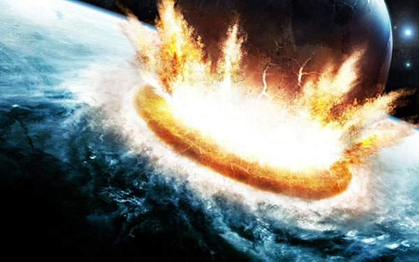 地球に衝突する超巨大隕石を描いたかっこいいイラスト壁紙画像