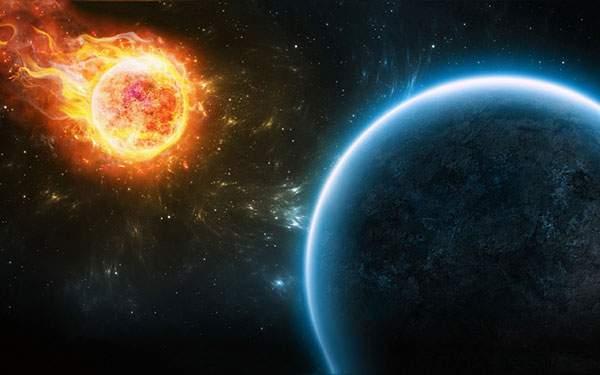 地球に向かう火の玉のような隕石を描いた綺麗なイラスト壁紙画像
