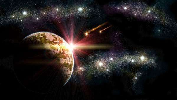 無数の星と隕石と輝く光のラインを描いた綺麗なイラスト壁紙画像
