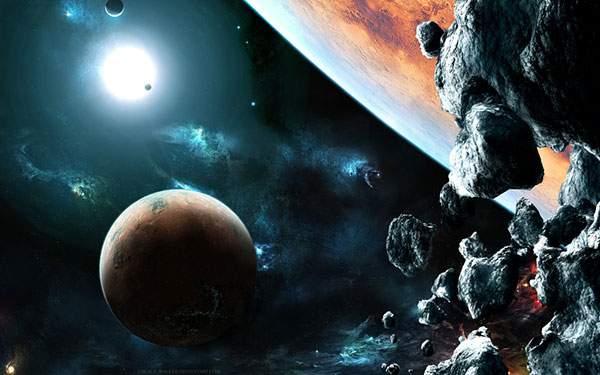 宇宙を漂う隕石を描いた綺麗なイラスト壁紙画像